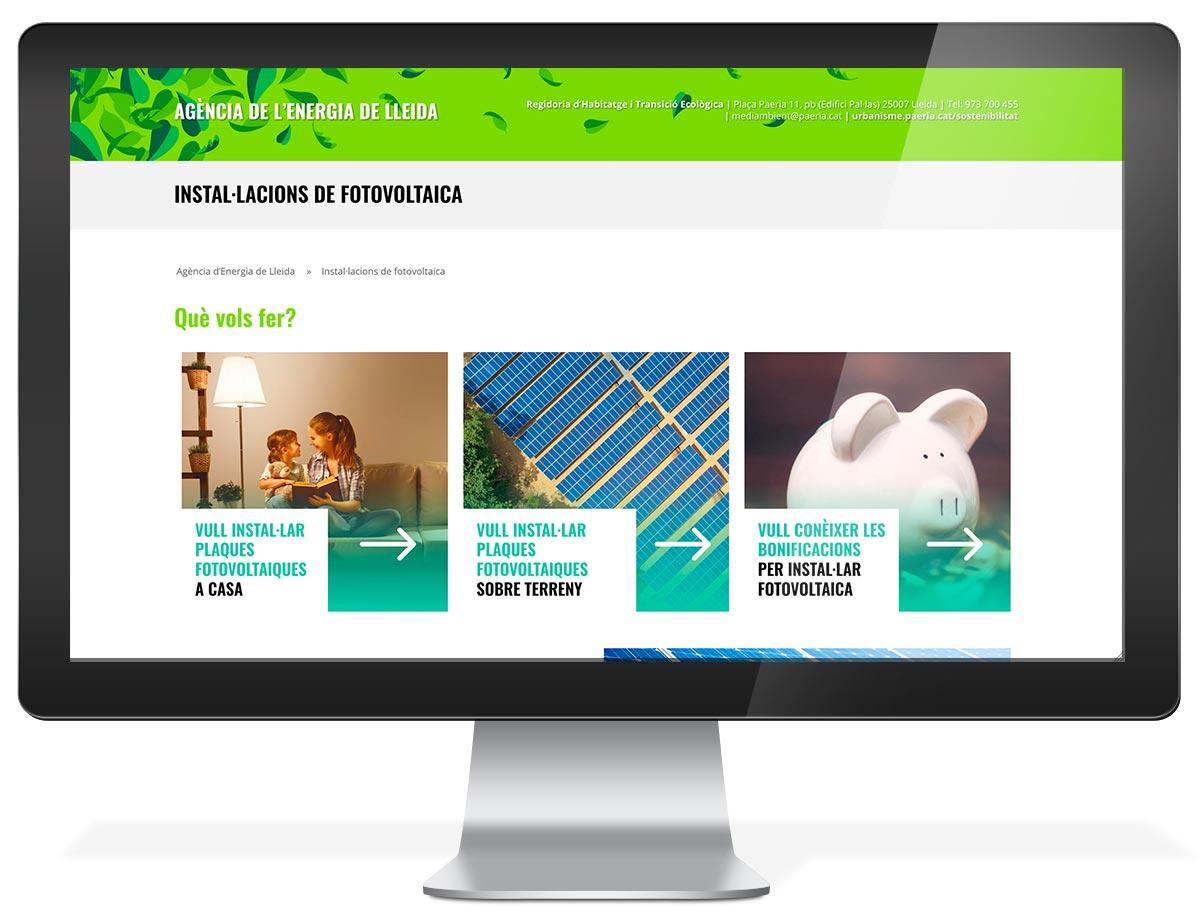 Diseño web Agencia de la Energía de Lleida